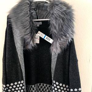 Joseph A. Long Cardigan Faux Fur Sweater Size XL
